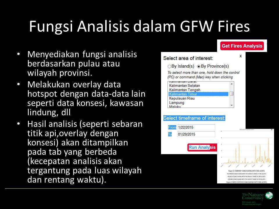 Fungsi Analisis dalam GFW Fires Menyediakan fungsi analisis berdasarkan pulau atau wilayah provinsi. Melakukan overlay data hotspot dengan data-data l