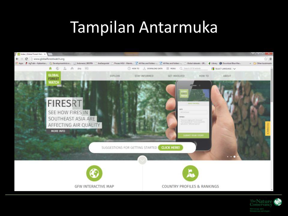 Menu Utama Icon untuk memilih beberapa fungsi termasuk tools untuk forest fire dan commodities (oil palm) Data dalam Web dapat di download, WRI menyediakan link ke sumber data spatial seperti data set Hansen (untuk forest/tree loss) Menu lainnya dapat di akses termasuk bagaimana bisa berpartisipasi dalam proses update data