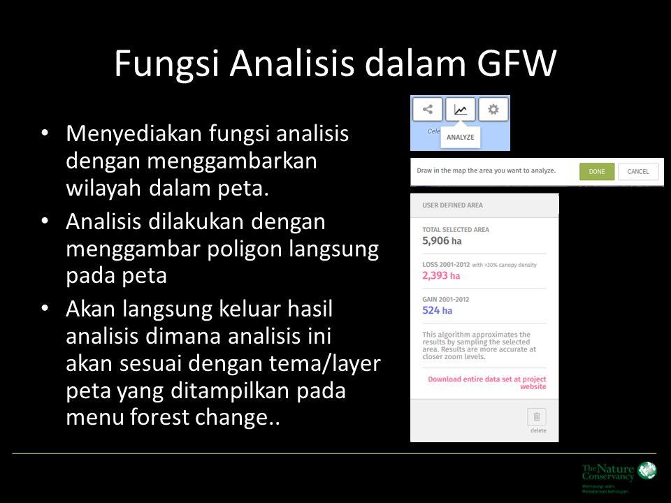 Fungsi Analisis dalam GFW Menyediakan fungsi analisis dengan menggambarkan wilayah dalam peta. Analisis dilakukan dengan menggambar poligon langsung p