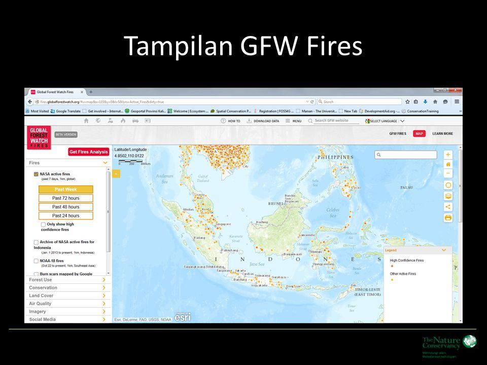 Fungsi Analisis dalam GFW Fires Menyediakan fungsi analisis berdasarkan pulau atau wilayah provinsi.