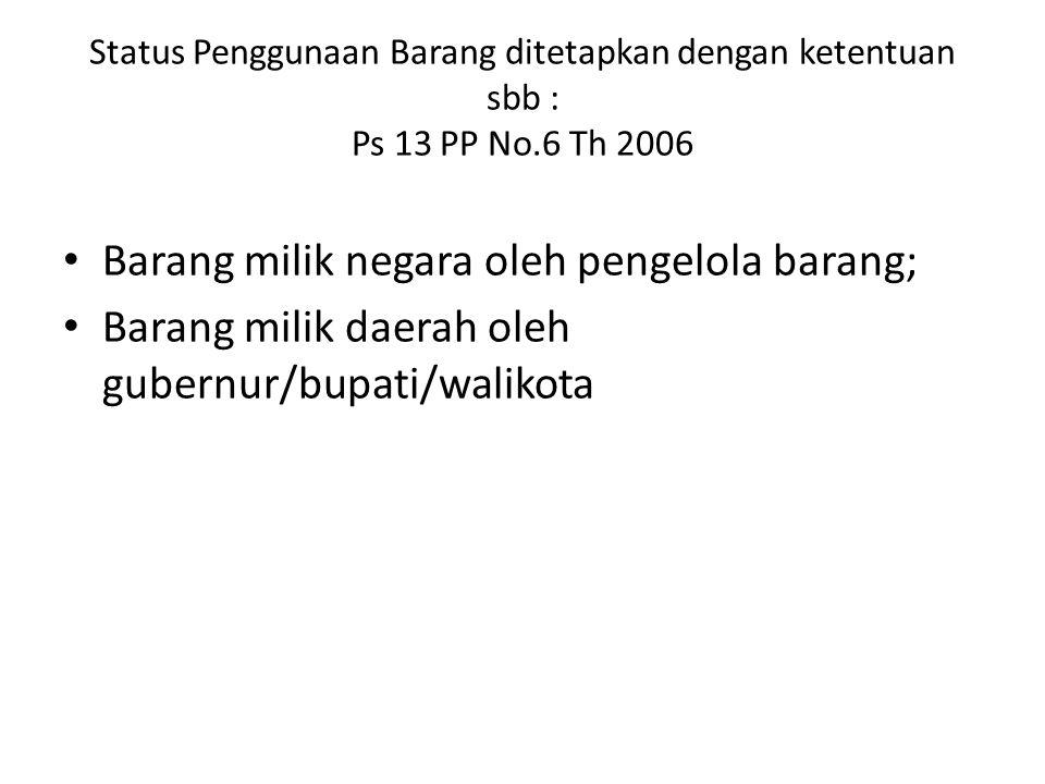 Status Penggunaan Barang ditetapkan dengan ketentuan sbb : Ps 13 PP No.6 Th 2006 Barang milik negara oleh pengelola barang; Barang milik daerah oleh g