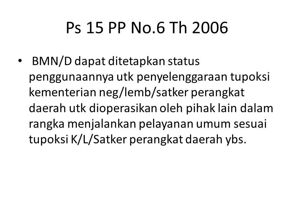 Ps 15 PP No.6 Th 2006 BMN/D dapat ditetapkan status penggunaannya utk penyelenggaraan tupoksi kementerian neg/lemb/satker perangkat daerah utk diopera
