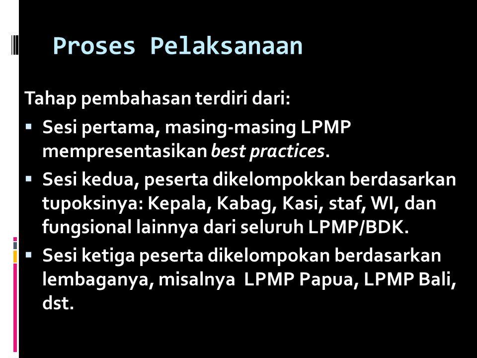 Proses Pelaksanaan Tahap pembahasan terdiri dari:  Sesi pertama, masing-masing LPMP mempresentasikan best practices.  Sesi kedua, peserta dikelompok