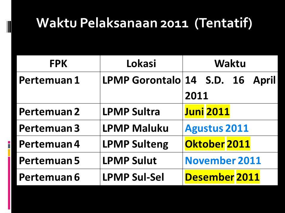 Waktu Pelaksanaan 2011 (Tentatif) FPKLokasiWaktu Pertemuan 1LPMP Gorontalo 14 S.D. 16 April 2011 Pertemuan 2LPMP SultraJuni 2011 Pertemuan 3LPMP Maluk