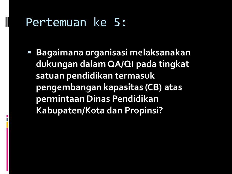 Pertemuan ke 5:  Bagaimana organisasi melaksanakan dukungan dalam QA/QI pada tingkat satuan pendidikan termasuk pengembangan kapasitas (CB) atas perm