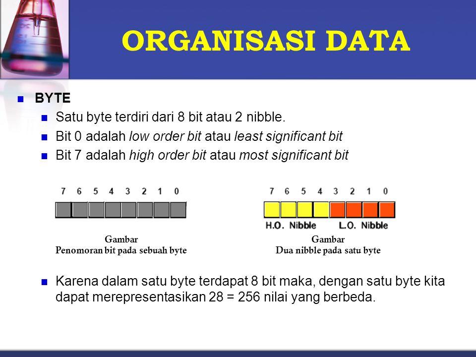 ORGANISASI DATA BYTE Satu byte terdiri dari 8 bit atau 2 nibble. Bit 0 adalah low order bit atau least significant bit Bit 7 adalah high order bit ata