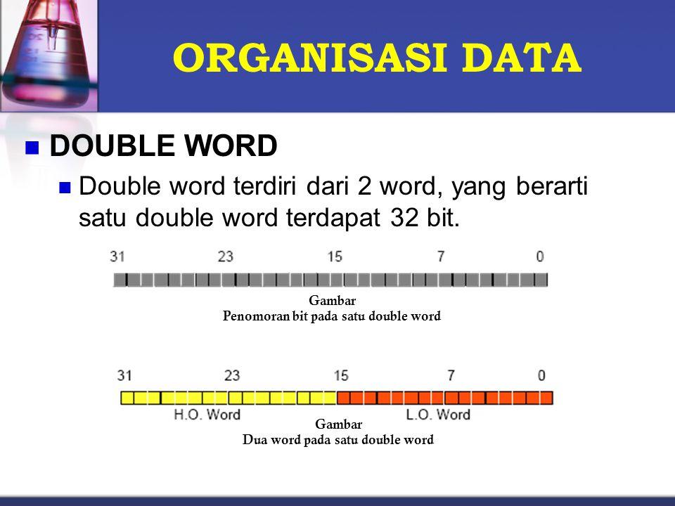ORGANISASI DATA DOUBLE WORD Double word terdiri dari 2 word, yang berarti satu double word terdapat 32 bit. Gambar Penomoran bit pada satu double word
