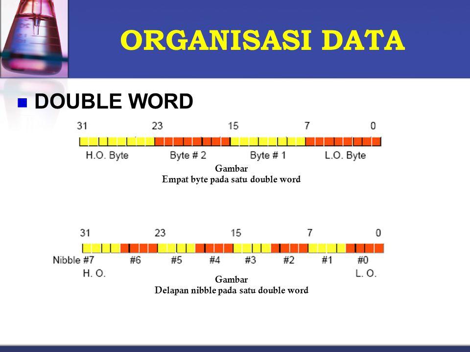 ORGANISASI DATA DOUBLE WORD Gambar Empat byte pada satu double word Gambar Delapan nibble pada satu double word