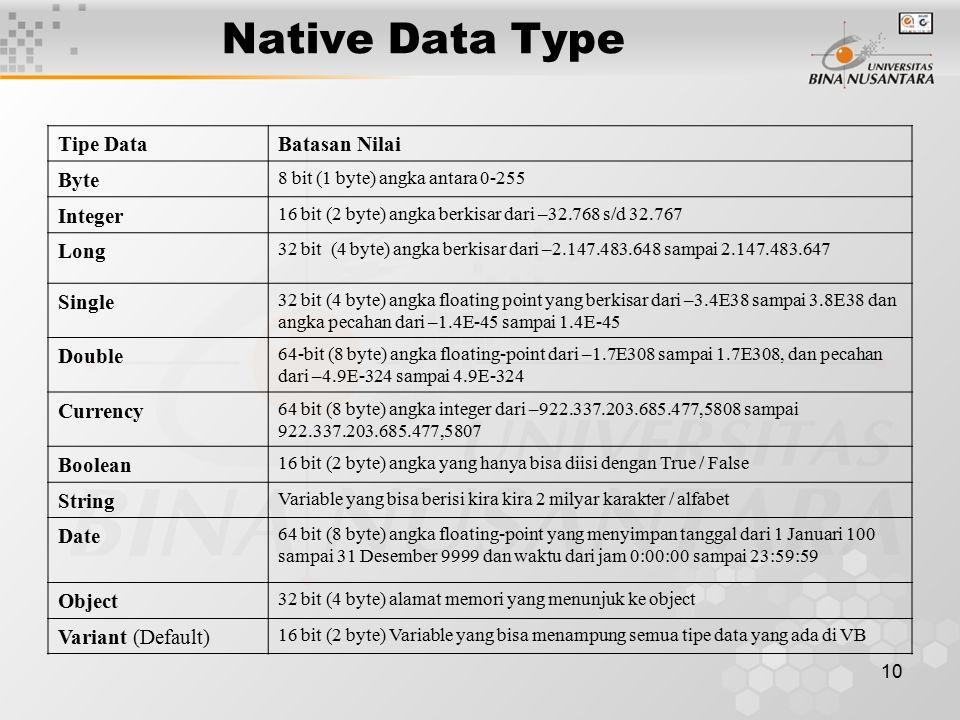 10 Native Data Type Tipe DataBatasan Nilai Byte 8 bit (1 byte) angka antara 0-255 Integer 16 bit (2 byte) angka berkisar dari –32.768 s/d 32.767 Long 32 bit (4 byte) angka berkisar dari –2.147.483.648 sampai 2.147.483.647 Single 32 bit (4 byte) angka floating point yang berkisar dari –3.4E38 sampai 3.8E38 dan angka pecahan dari –1.4E-45 sampai 1.4E-45 Double 64-bit (8 byte) angka floating-point dari –1.7E308 sampai 1.7E308, dan pecahan dari –4.9E-324 sampai 4.9E-324 Currency 64 bit (8 byte) angka integer dari –922.337.203.685.477,5808 sampai 922.337.203.685.477,5807 Boolean 16 bit (2 byte) angka yang hanya bisa diisi dengan True / False String Variable yang bisa berisi kira kira 2 milyar karakter / alfabet Date 64 bit (8 byte) angka floating-point yang menyimpan tanggal dari 1 Januari 100 sampai 31 Desember 9999 dan waktu dari jam 0:00:00 sampai 23:59:59 Object 32 bit (4 byte) alamat memori yang menunjuk ke object Variant (Default) 16 bit (2 byte) Variable yang bisa menampung semua tipe data yang ada di VB