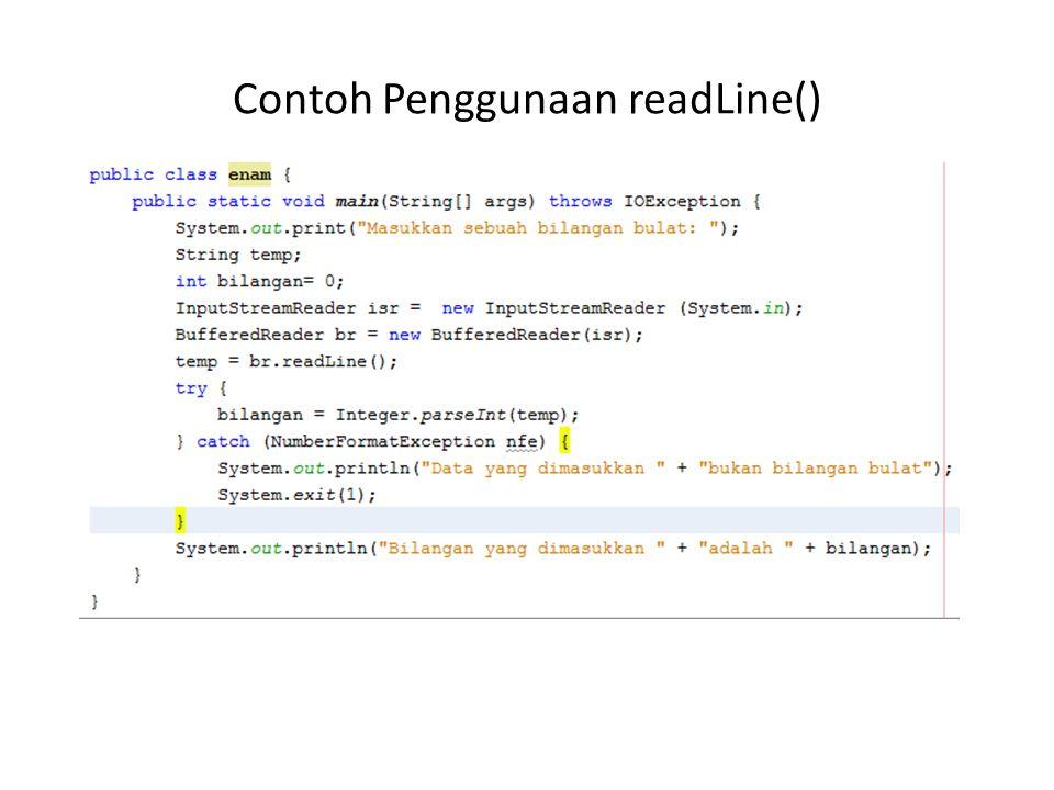 Contoh Penggunaan readLine()