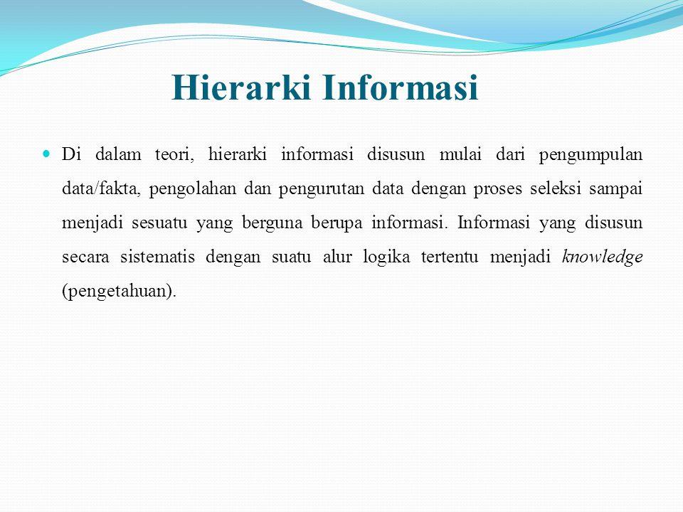 Hierarki Informasi Di dalam teori, hierarki informasi disusun mulai dari pengumpulan data/fakta, pengolahan dan pengurutan data dengan proses seleksi