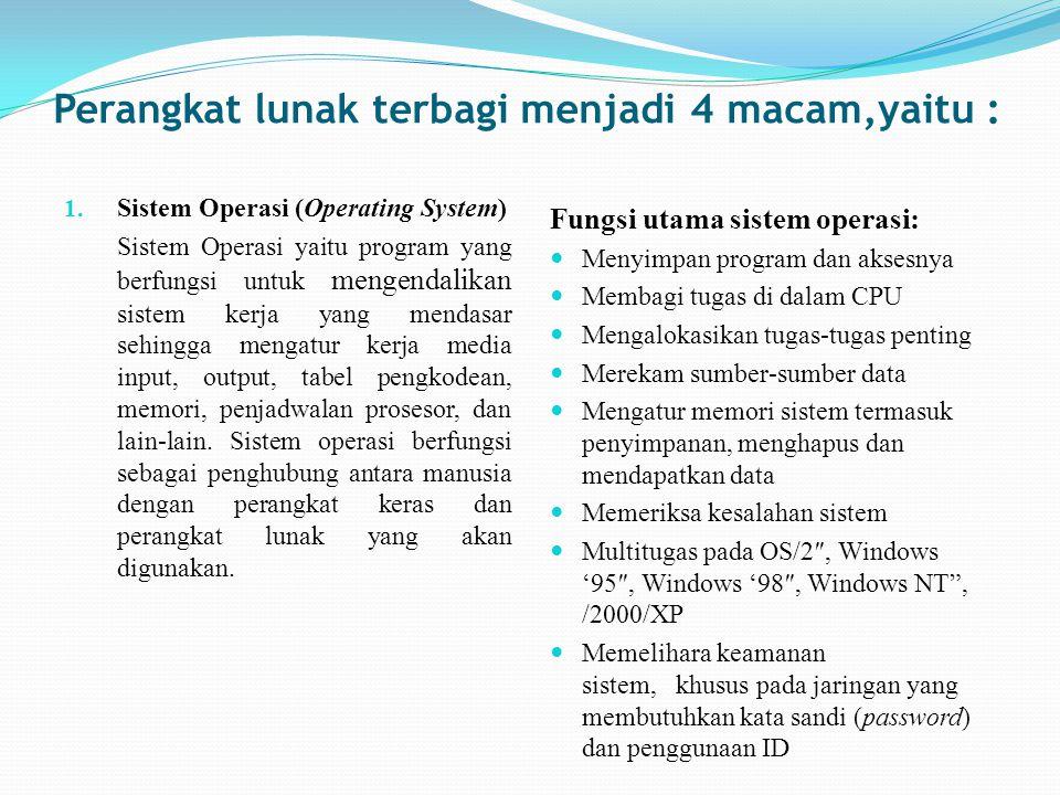 Perangkat lunak terbagi menjadi 4 macam,yaitu : 1. Sistem Operasi (Operating System) Sistem Operasi yaitu program yang berfungsi untuk mengendalikan s