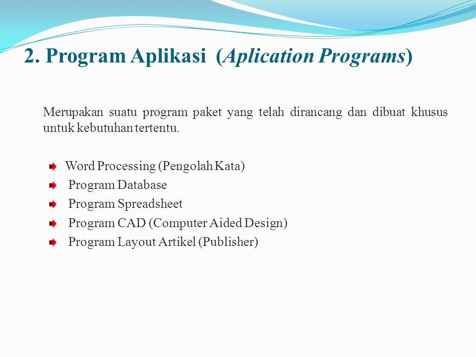 2. Program Aplikasi (Aplication Programs) Merupakan suatu program paket yang telah dirancang dan dibuat khusus untuk kebutuhan tertentu. Word Processi
