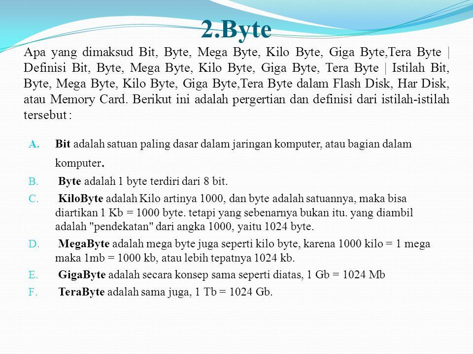 2.Byte Apa yang dimaksud Bit, Byte, Mega Byte, Kilo Byte, Giga Byte,Tera Byte | Definisi Bit, Byte, Mega Byte, Kilo Byte, Giga Byte, Tera Byte | Istil