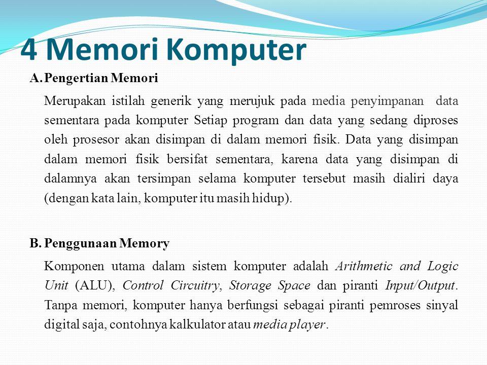 4 Memori Komputer A.Pengertian Memori Merupakan istilah generik yang merujuk pada media penyimpanan data sementara pada komputer Setiap program dan da