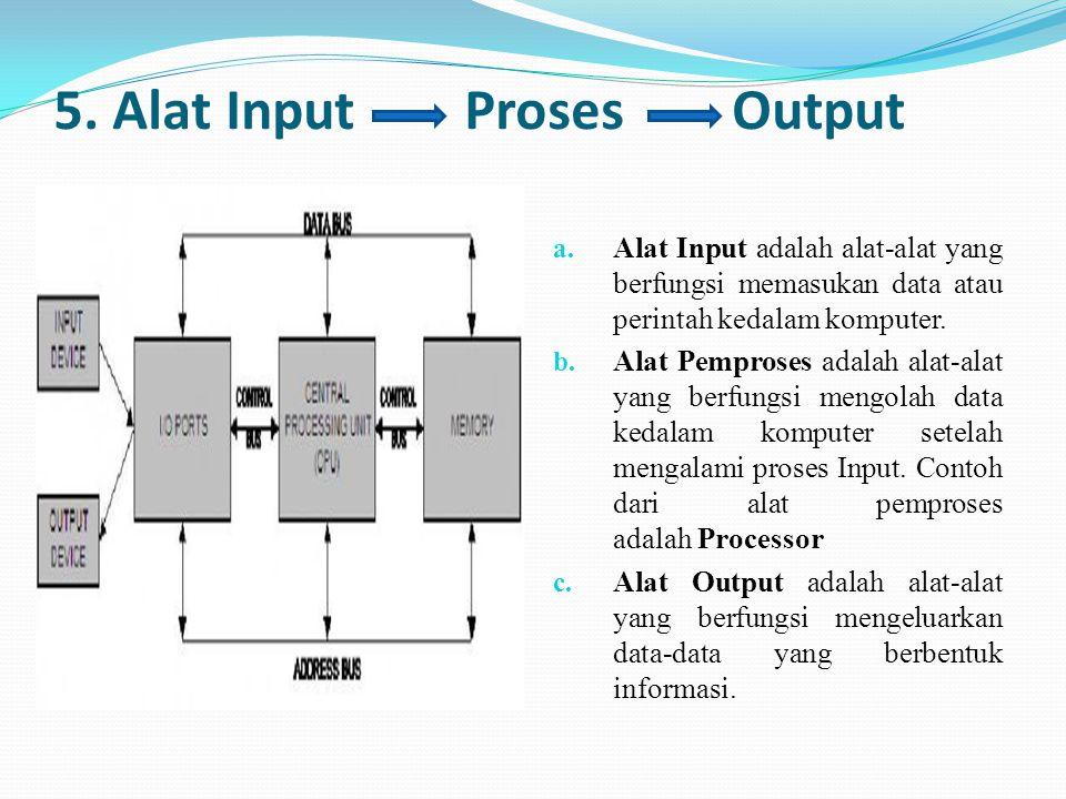 5. Alat Input Proses Output a. Alat Input adalah alat-alat yang berfungsi memasukan data atau perintah kedalam komputer. b. Alat Pemproses adalah alat