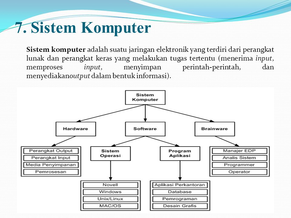 7. Sistem Komputer Sistem komputer adalah suatu jaringan elektronik yang terdiri dari perangkat lunak dan perangkat keras yang melakukan tugas tertent