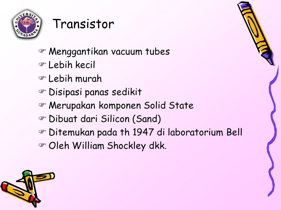 Transistor  Menggantikan vacuum tubes  Lebih kecil  Lebih murah  Disipasi panas sedikit  Merupakan komponen Solid State  Dibuat dari Silicon (Sa