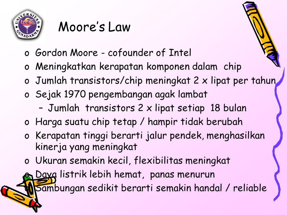 Moore's Law oGordon Moore - cofounder of Intel oMeningkatkan kerapatan komponen dalam chip oJumlah transistors/chip meningkat 2 x lipat per tahun oSej