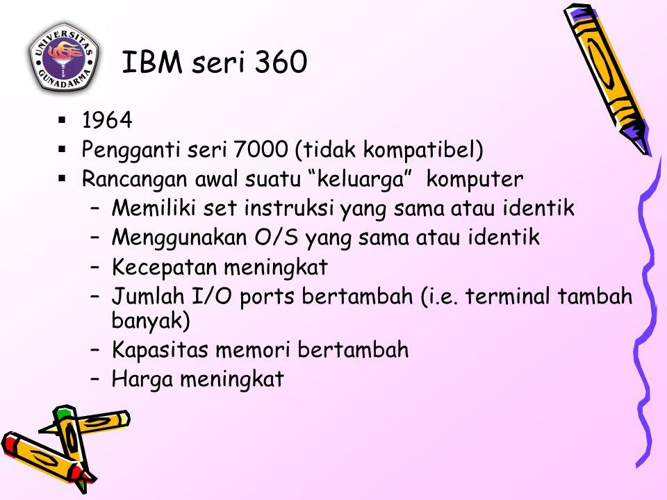 IBM seri 360  1964  Pengganti seri 7000 (tidak kompatibel)  Rancangan awal suatu keluarga komputer –Memiliki set instruksi yang sama atau identik –Menggunakan O/S yang sama atau identik –Kecepatan meningkat –Jumlah I/O ports bertambah (i.e.