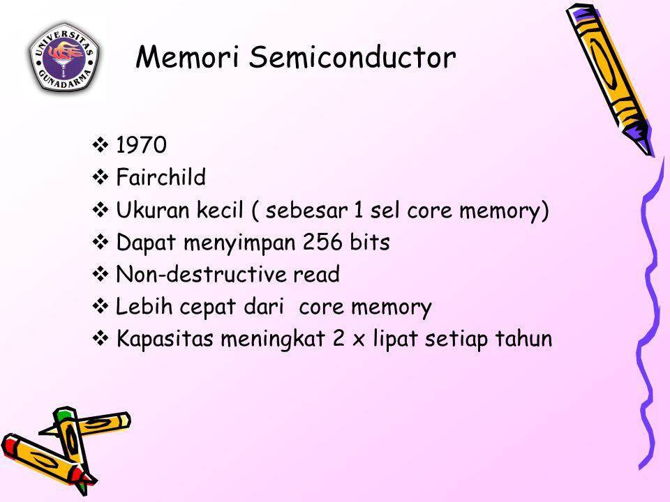 Memori Semiconductor  1970  Fairchild  Ukuran kecil ( sebesar 1 sel core memory)  Dapat menyimpan 256 bits  Non-destructive read  Lebih cepat dari core memory  Kapasitas meningkat 2 x lipat setiap tahun