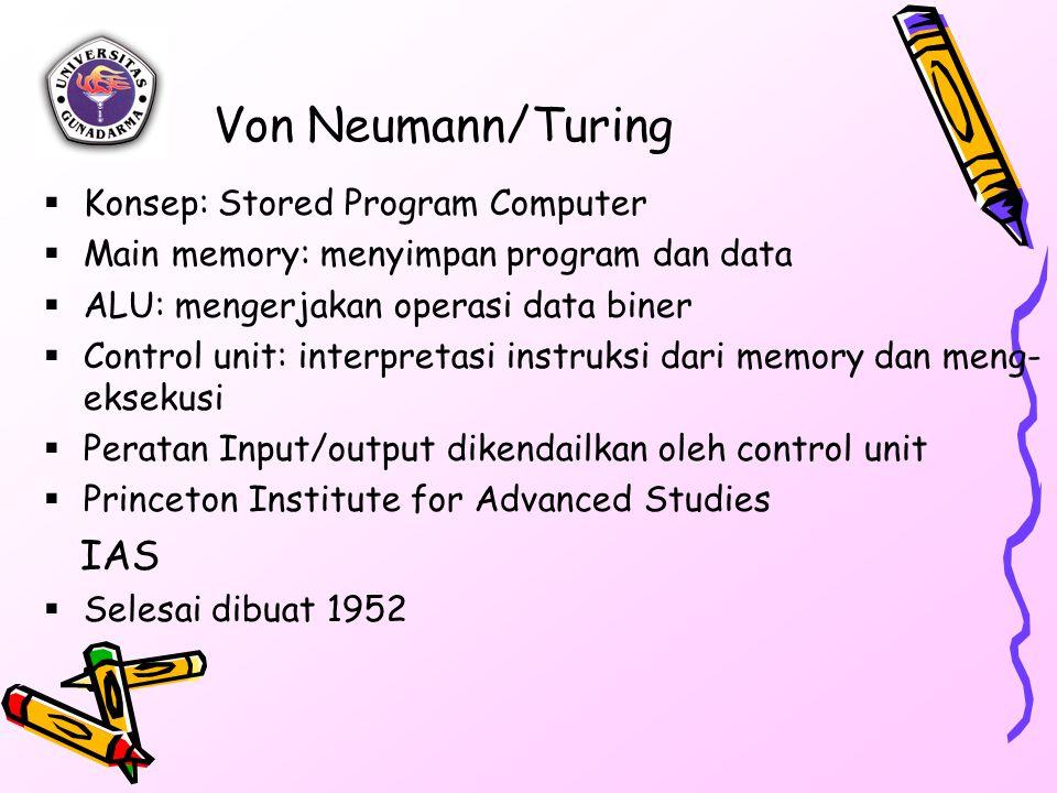 Von Neumann/Turing  Konsep: Stored Program Computer  Main memory: menyimpan program dan data  ALU: mengerjakan operasi data biner  Control unit: interpretasi instruksi dari memory dan meng- eksekusi  Peratan Input/output dikendailkan oleh control unit  Princeton Institute for Advanced Studies IAS  Selesai dibuat 1952