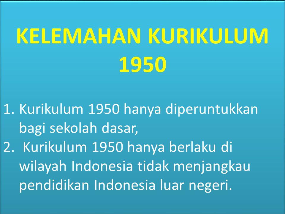 KELEBIHAN KURIKULUM 1950 1.Kurikulum 1947 secara resmi diberlakukan pada tahun 1950, hall ini menunjukkan kesadaran bangsa Indonesia akan pentingnya p