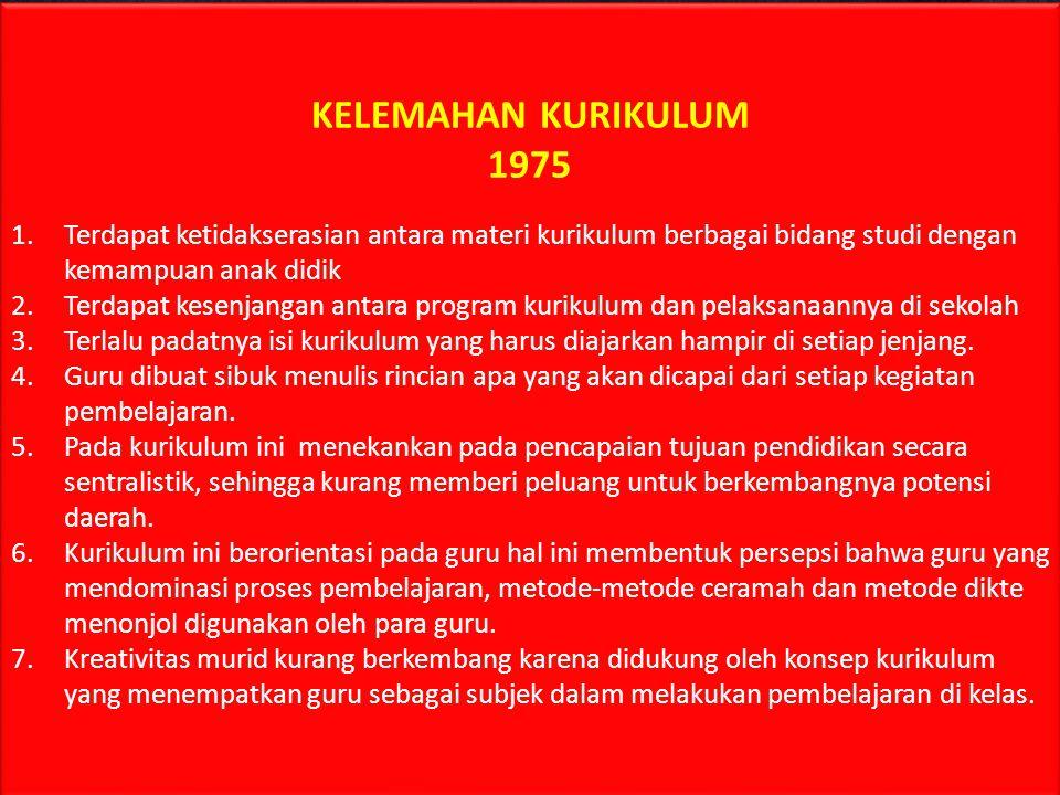 KELEBIHAN KURIKULUM 1975 1.Berorientasi pada tujuan 2.Mengarah pembentukan tingkah laku siswa 3.Relevans dengan kebutuhan masyarakat 4.Menggunakan pen