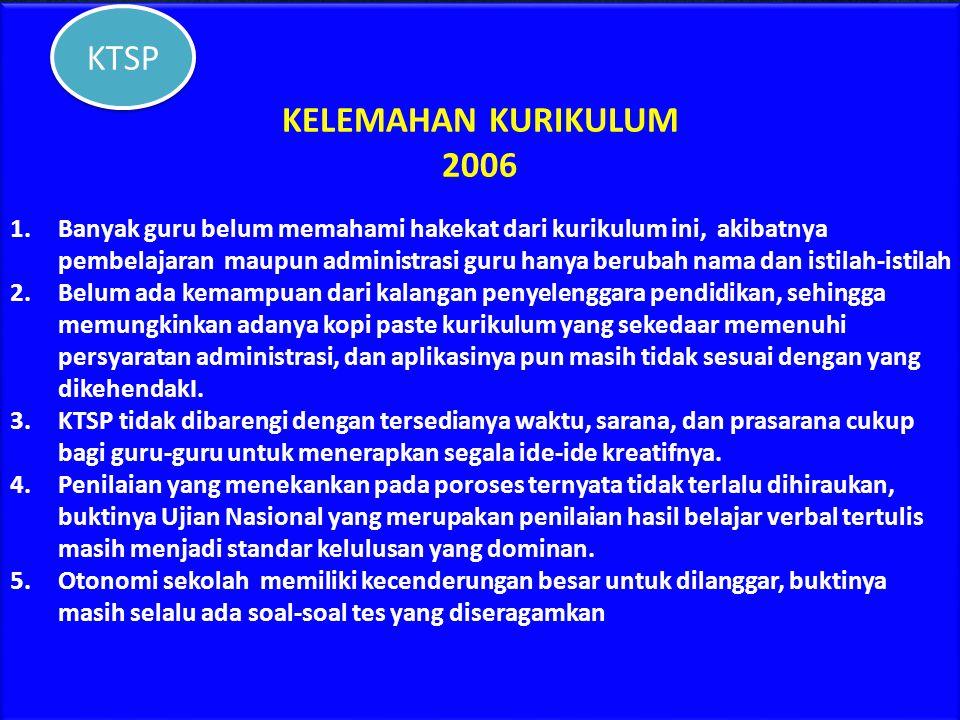 KELEBIHAN KURIKULUM 2006 1.Secara teori memberikan otonomi secra luas pada sekolah untuk mengembangkan kreativitas dan inovasinya dalam meningkatkan k