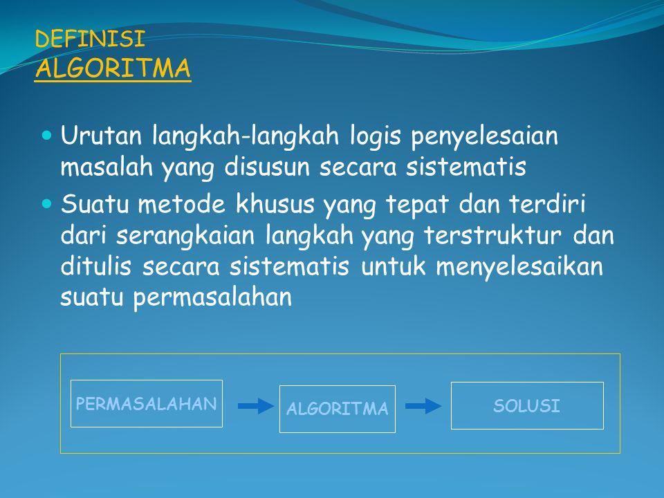 PENYAJIAN ALGORITMA 1. DESKRIPTIF 2. FLOWCHART 3. PSEUDOCODE