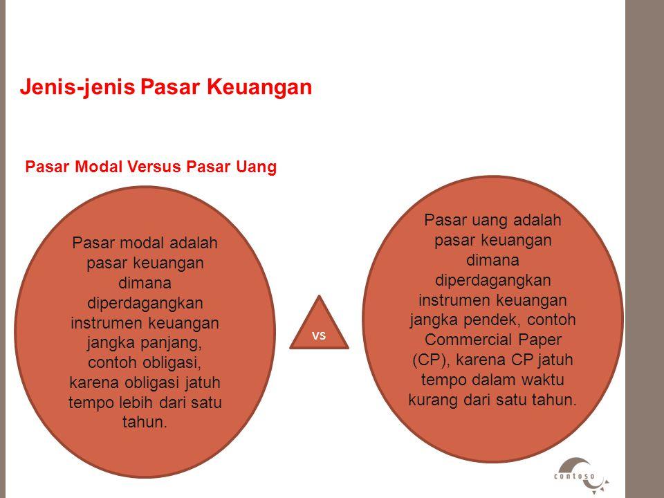 Jenis-jenis Pasar Keuangan Pasar Modal Versus Pasar Uang Pasar modal adalah pasar keuangan dimana diperdagangkan instrumen keuangan jangka panjang, co