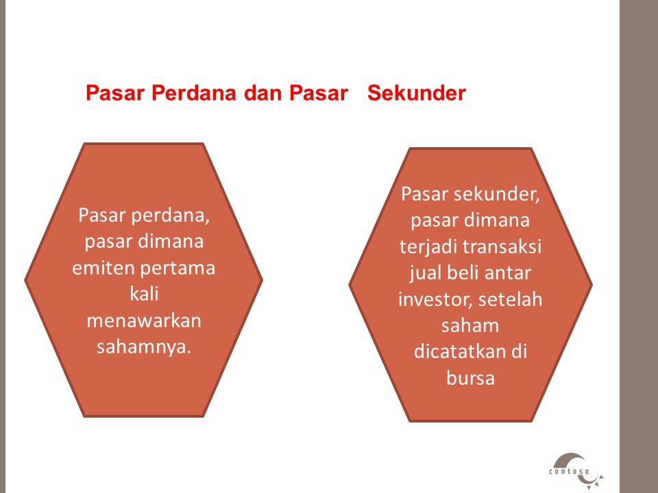 Pasar Perdana dan Pasar Sekunder Pasar perdana, pasar dimana emiten pertama kali menawarkan sahamnya. Pasar sekunder, pasar dimana terjadi transaksi j