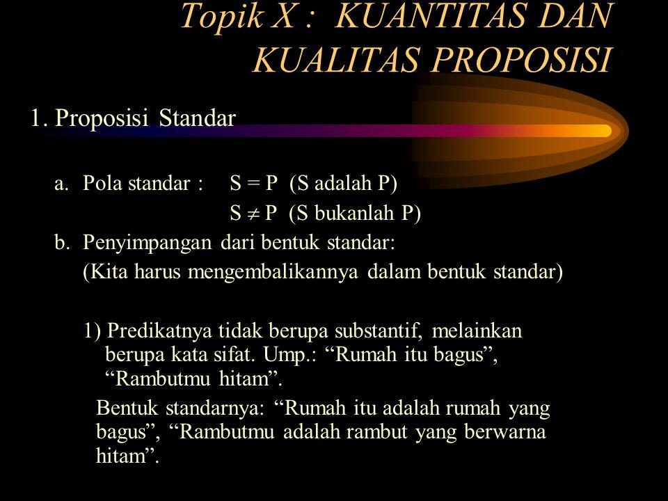 Topik X : KUANTITAS DAN KUALITAS PROPOSISI 1.Proposisi Standar a.
