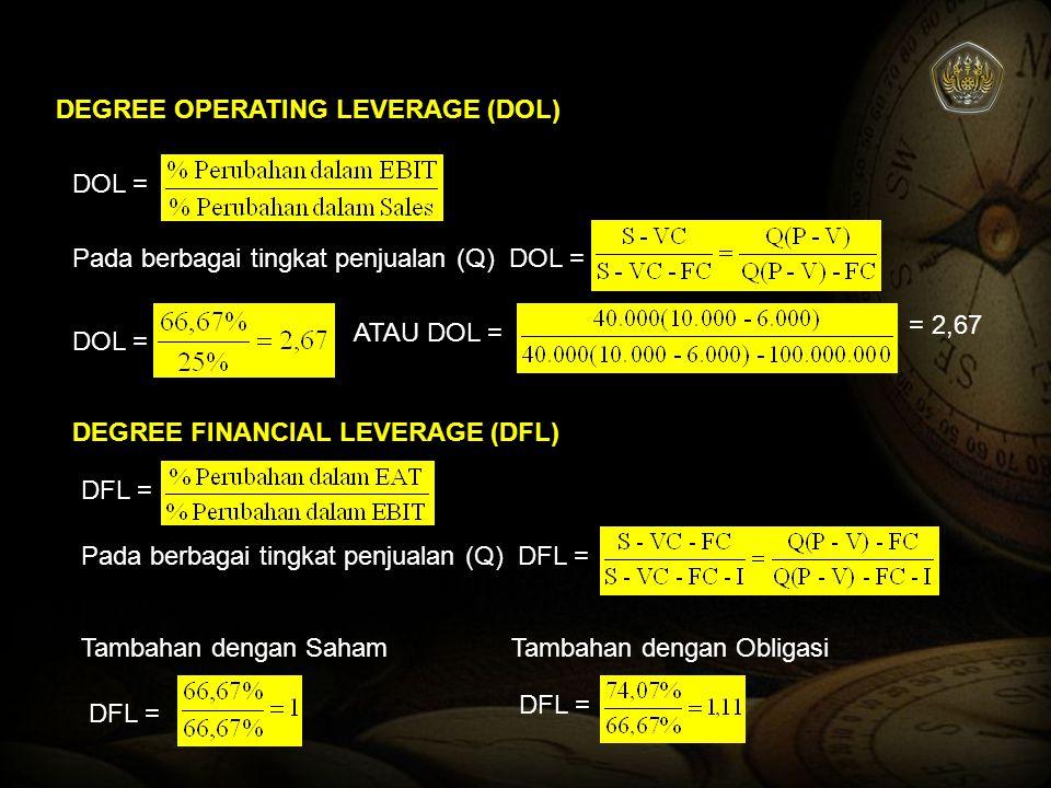 DEGREE OPERATING LEVERAGE (DOL) DOL = Pada berbagai tingkat penjualan (Q) DOL = DOL = ATAU DOL = = 2,67 DEGREE FINANCIAL LEVERAGE (DFL) DFL = Pada ber