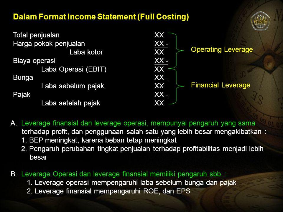 Dalam Format Income Statement (Full Costing) Total penjualanXX Harga pokok penjualanXX - Laba kotorXX Biaya operasiXX - Laba Operasi (EBIT)XX BungaXX