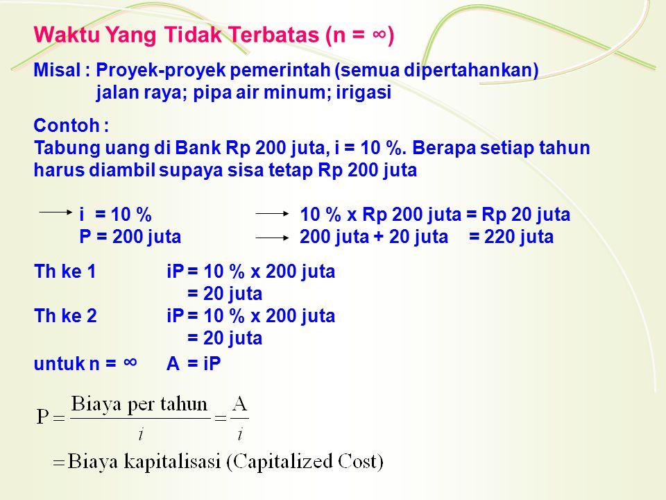 Waktu Yang Tidak Terbatas (n = ∞) Misal : Proyek-proyek pemerintah (semua dipertahankan) jalan raya; pipa air minum; irigasi Contoh : Tabung uang di B