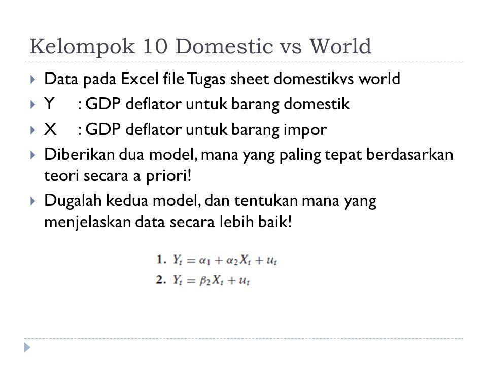 Kelompok 10 Domestic vs World  Data pada Excel file Tugas sheet domestikvs world  Y: GDP deflator untuk barang domestik  X: GDP deflator untuk barang impor  Diberikan dua model, mana yang paling tepat berdasarkan teori secara a priori.