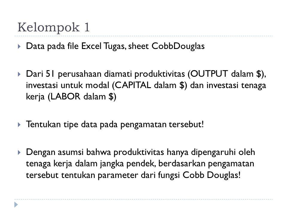 Kelompok 1  Data pada file Excel Tugas, sheet CobbDouglas  Dari 51 perusahaan diamati produktivitas (OUTPUT dalam $), investasi untuk modal (CAPITAL dalam $) dan investasi tenaga kerja (LABOR dalam $)  Tentukan tipe data pada pengamatan tersebut.