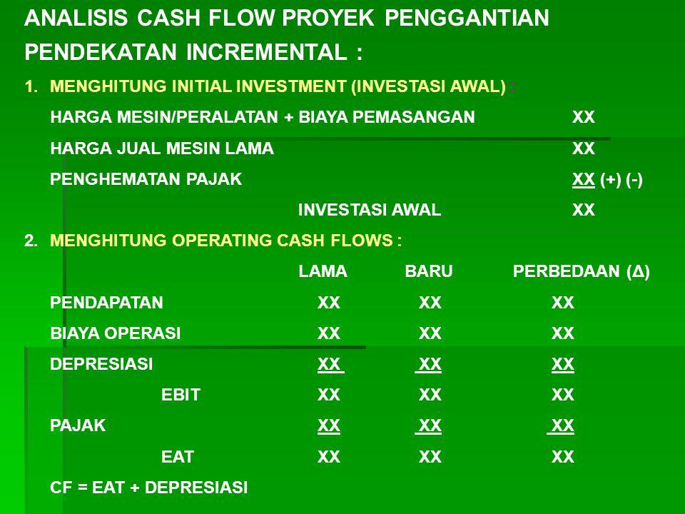 ANALISIS CASH FLOW PROYEK PENGGANTIAN PENDEKATAN INCREMENTAL : 1.MENGHITUNG INITIAL INVESTMENT (INVESTASI AWAL) : HARGA MESIN/PERALATAN + BIAYA PEMASA