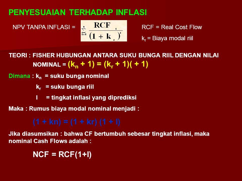 PENYESUAIAN TERHADAP INFLASI NPV TANPA INFLASI =RCF = Real Cost Flow k r = Biaya modal riil TEORI : FISHER HUBUNGAN ANTARA SUKU BUNGA RIIL DENGAN NILA