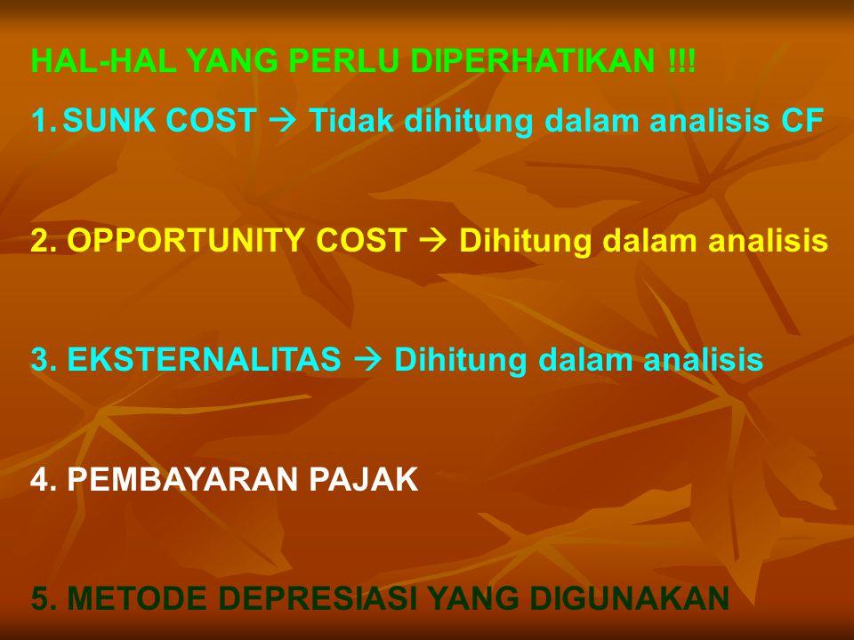 HAL-HAL YANG PERLU DIPERHATIKAN !!! 1.SUNK COST  Tidak dihitung dalam analisis CF 2. OPPORTUNITY COST  Dihitung dalam analisis 3. EKSTERNALITAS  Di