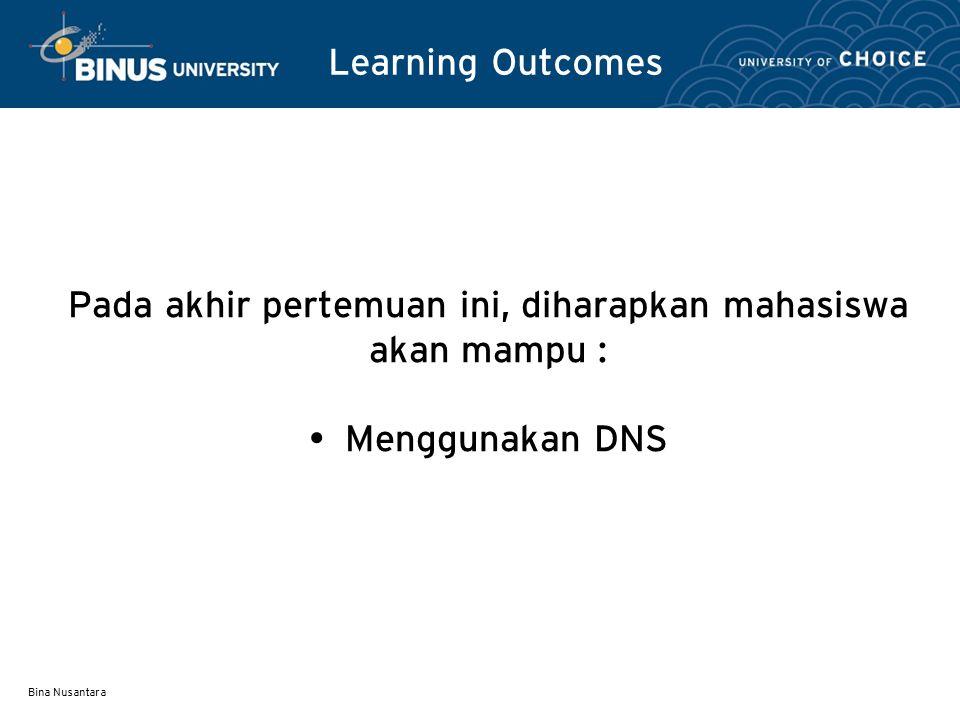 Bina Nusantara DNS Name Servers Servers – Melayani permintaan untuk domainnya secara langsung.