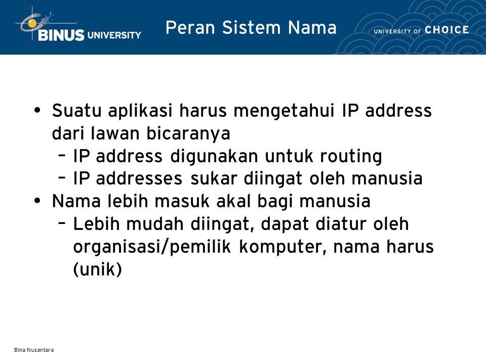 Bina Nusantara Peran Sistem Nama Penggunaan Nama untuk alamat IP disebut Domain Name System – Nama berbentuk Alphanumerik yang terbagi atas beberapa segmen, hirarki, menunjukkan domain, menunjukkan komputer (host) seperti (www.univ.com) Domain Name Server (DNS) biasanya digunakan untuk mencari IP address atas dasar nama domain