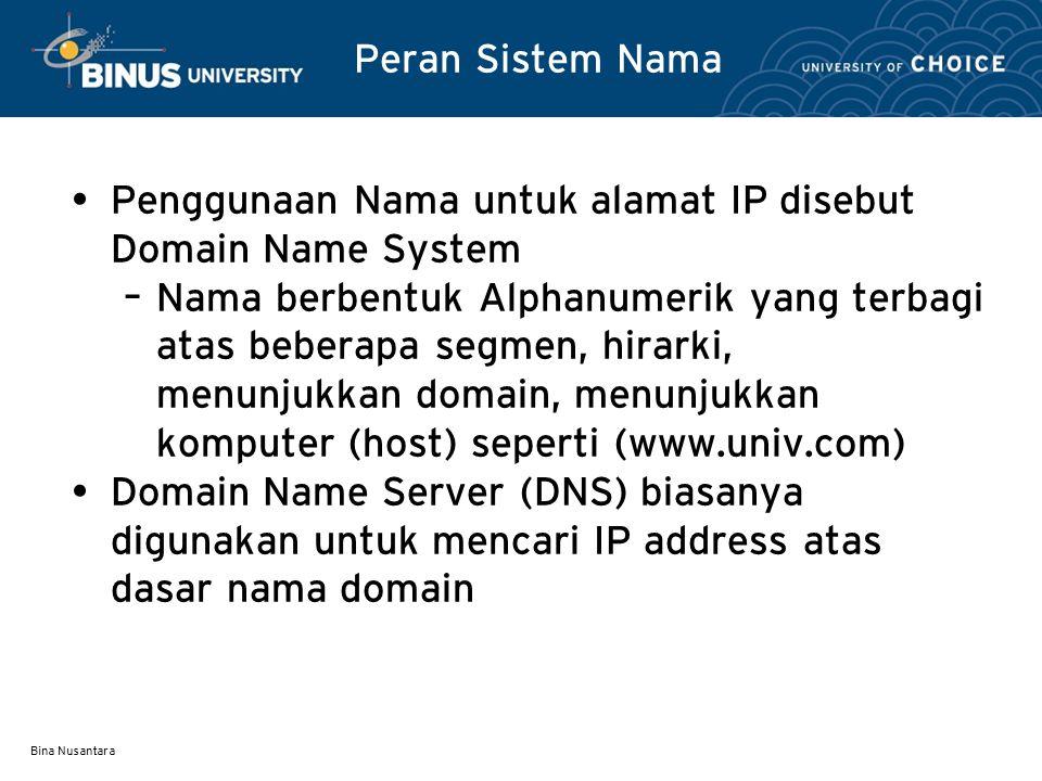 Bina Nusantara Karakteristik Nama Segmen paling kanan adalah Top level atau ZONE Segment berikut disebut DOMAIN, sehingga menjadi (domain.zone) dan diatur oleh ICANN dan harus unik Ada dua tipe Top-Level Domain (TLDs) yaitu – TLD generik Awalnya.COM,.NET,.ORG,.EDU,.INT,.MIL and.GOV.