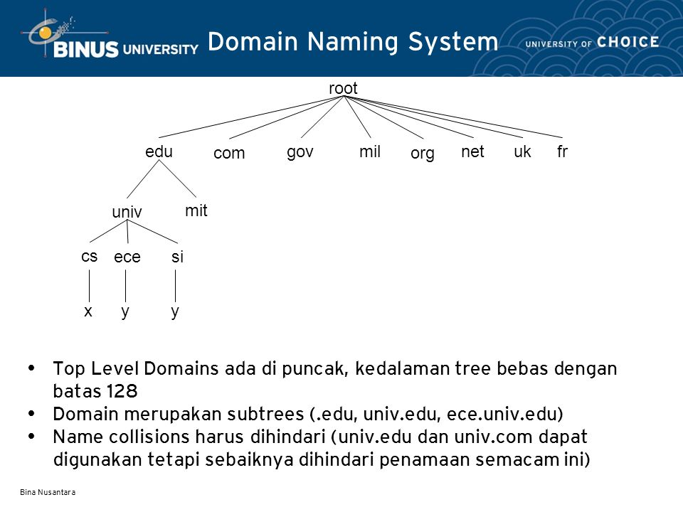 Bina Nusantara Aturan Penamaan Sebaiknya nama itu harus mudah diingat dan tidak mempunyai dua arti.
