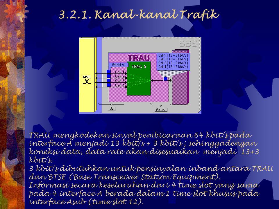 Jumlah maksimum TRAU yang dapat dihubungkan ke 1 BSC adalah 8 TRAU. 1 TRAU dapat memproses 120 kanal trafik 3.2. KONEKSI TRAU