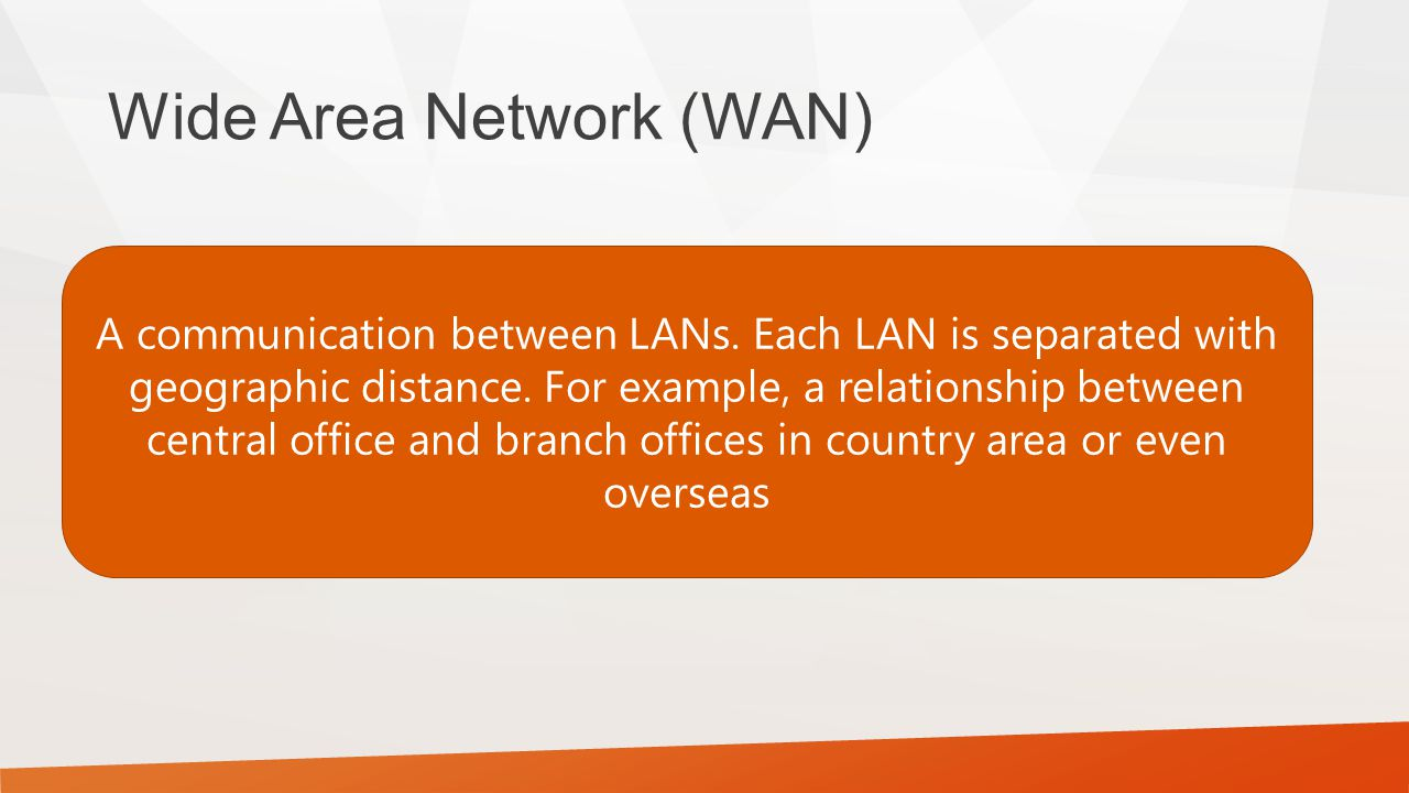 Wide Area Network (WAN) A communication between LANs.