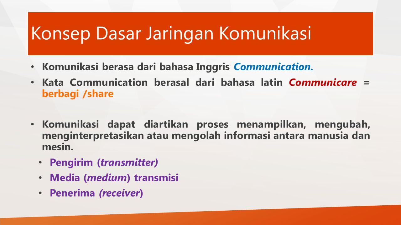 Konsep Dasar Jaringan Komunikasi Komunikasi berasa dari bahasa Inggris Communication.
