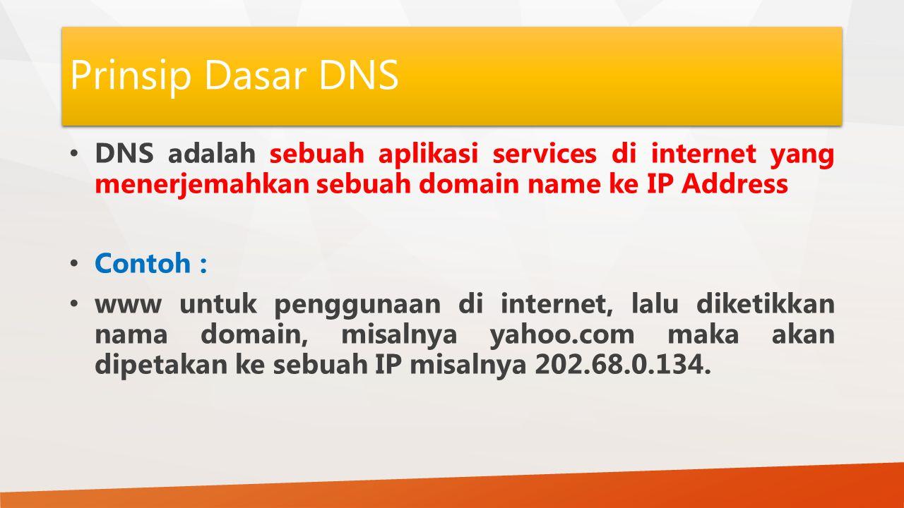 Prinsip Dasar DNS DNS adalah sebuah aplikasi services di internet yang menerjemahkan sebuah domain name ke IP Address Contoh : www untuk penggunaan di internet, lalu diketikkan nama domain, misalnya yahoo.com maka akan dipetakan ke sebuah IP misalnya 202.68.0.134.