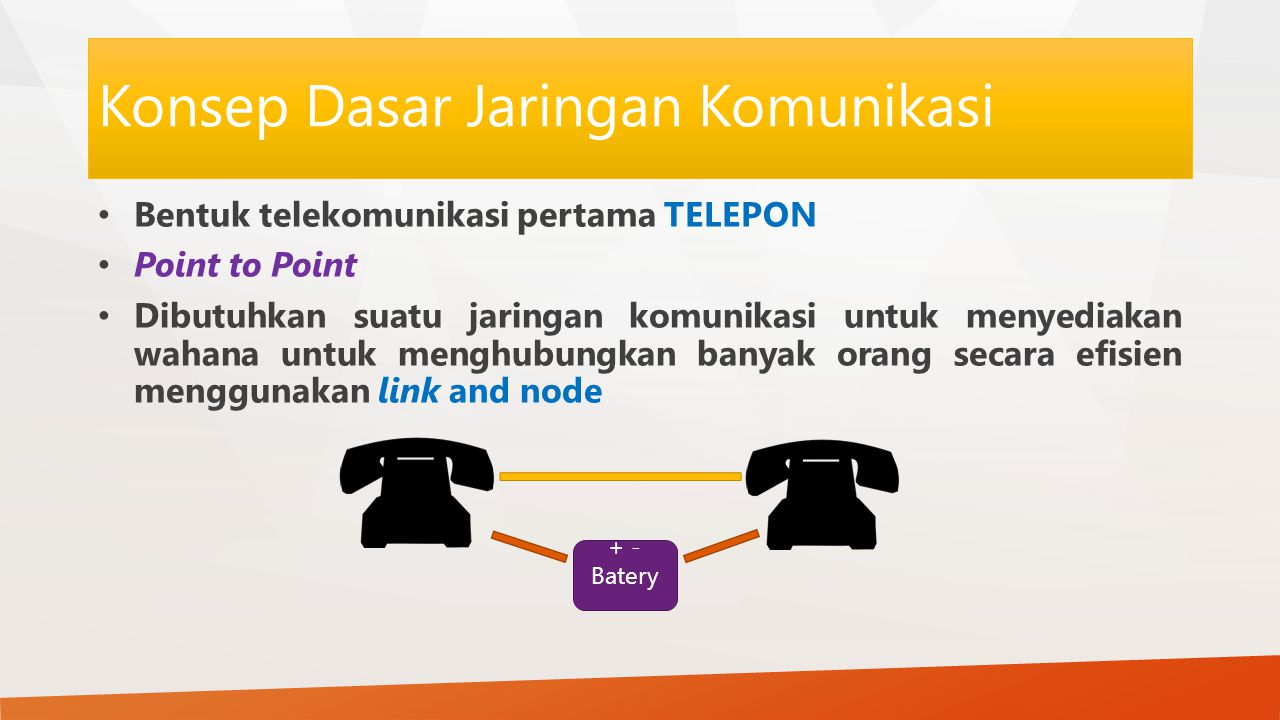 Konsep Dasar Jaringan Komunikasi Bentuk telekomunikasi pertama TELEPON Point to Point Dibutuhkan suatu jaringan komunikasi untuk menyediakan wahana untuk menghubungkan banyak orang secara efisien menggunakan link and node + - Batery
